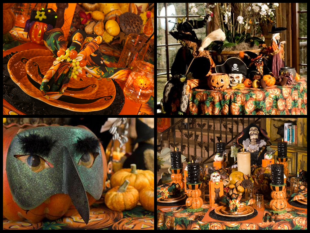 A theme table makes every holiday special, get creative! The orchid arrangement works as a natural element surrounded by Halloween. Masks are a fun way to add interest and texture to your centerpiece. Multi-Use autumn-inspired centerpiece.
