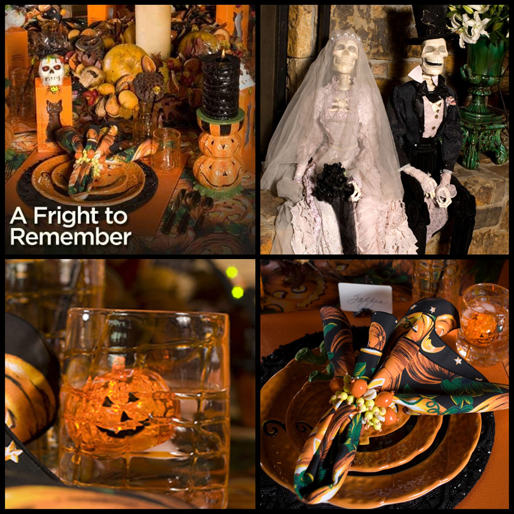 A spooky stir stick-glowing jack-o-lantern ice cubes add whimsy and intrigue. Sir Simon Skellington III and Lady Scarlet Skeleta of Frightville are the talk of the party.