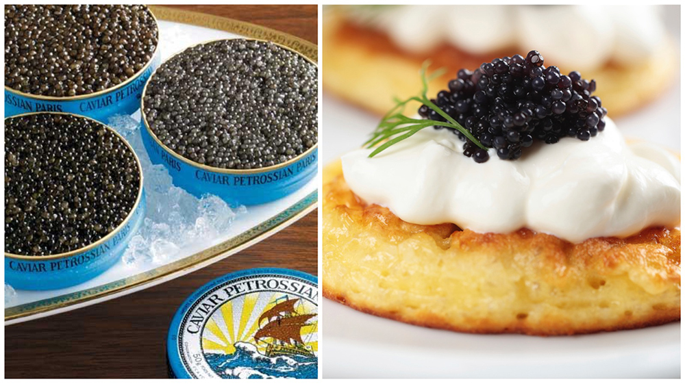 Petrossian Caviar on Buckwheat Blinis-1