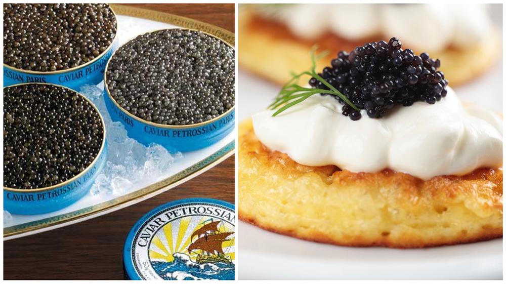 Petrossian Caviar on Buckwheat Blinis-1