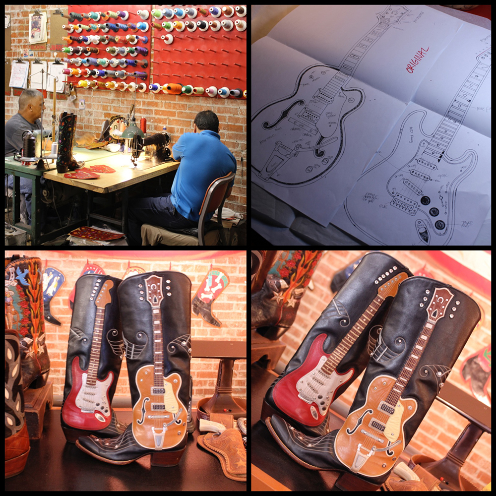 """Guitar Boot"" patterns, guitars on on side and notes on the other..."