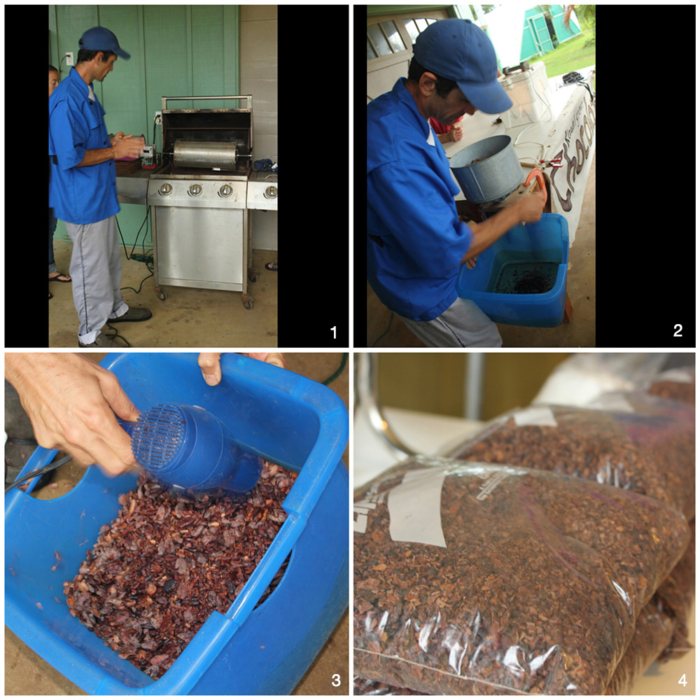 1. Roasting the fermented and dried beans. 2. Cracking the beans. 3. Removing the chaff. 4. The cacao nibs ready for the melanger.