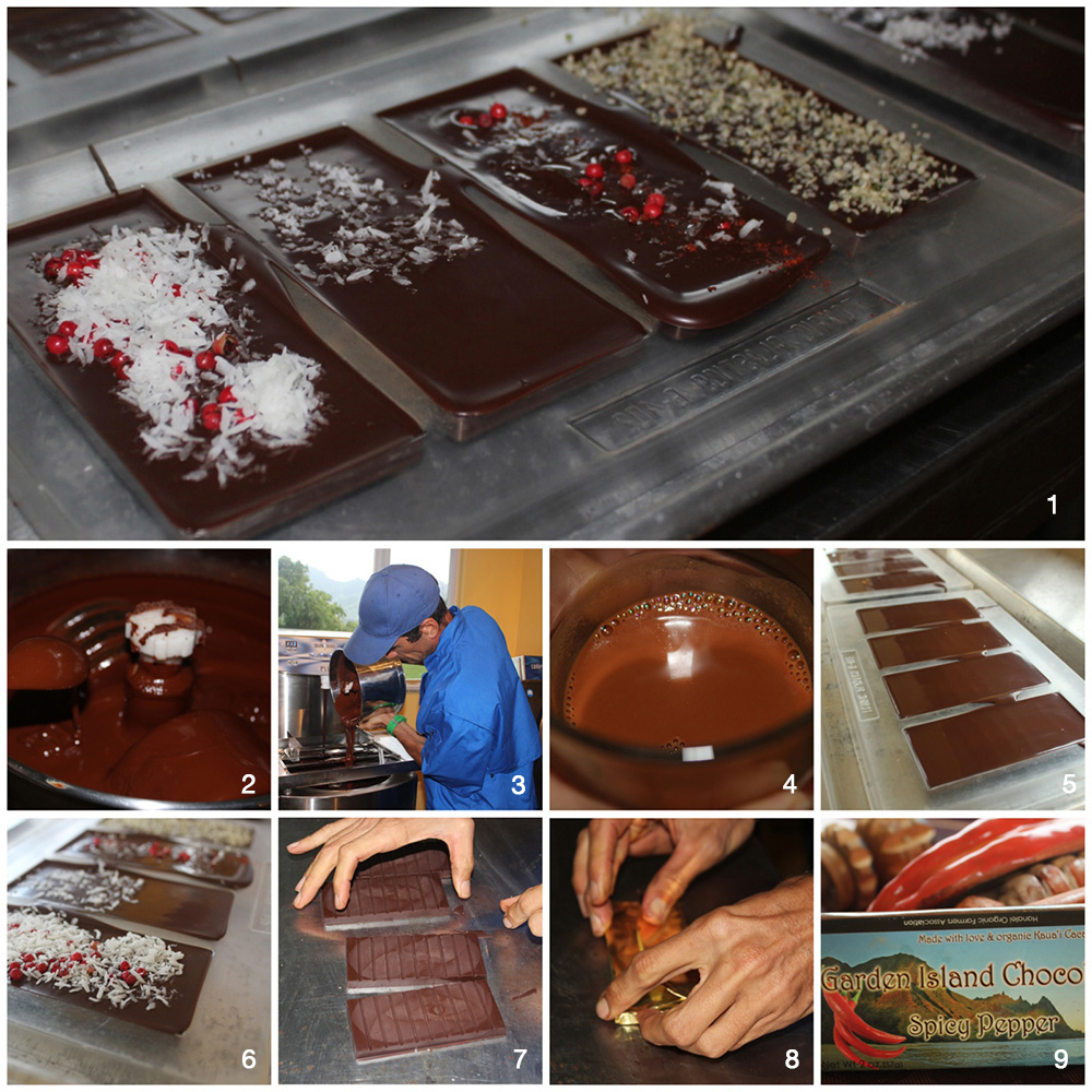 1. Any desired ingredient can be added to a chocolate bar. 2. The inside of the melanger. 3. Pouring tempered chocolate into molds. 4. Delicious, rich hot chocolate! 5. Bars ready to either be embellished or cooled. 6. Our hand embellished chocolate bars. 7. Bars ready to either be embellished or cooled. 8. We wrapped our bars in golden paper. 9. Our golden ticket!