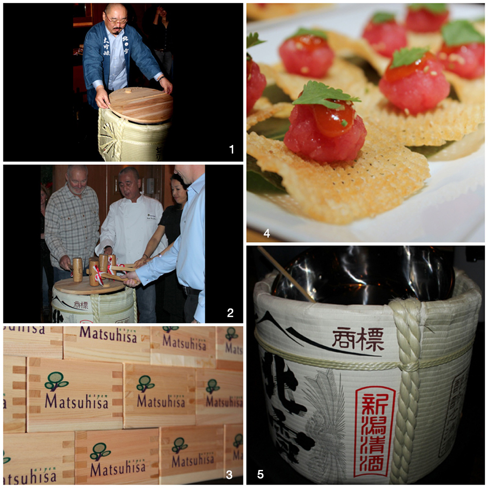 1. Fumio Hazu from Hokusetsu, purveyor of the exclusive Nobu Sake. 2. Michael Goldberg, Nobu, Nobuko Kang & Todd Clark at the Sake barrel. 3. Special sake boxes used to serve the Hokusetsu sake at the ceremony. 4. Matsuhisa Aspen's fantastic Tuna Miso Chip appetizer. 5. Hokusetsu Saké barrel.