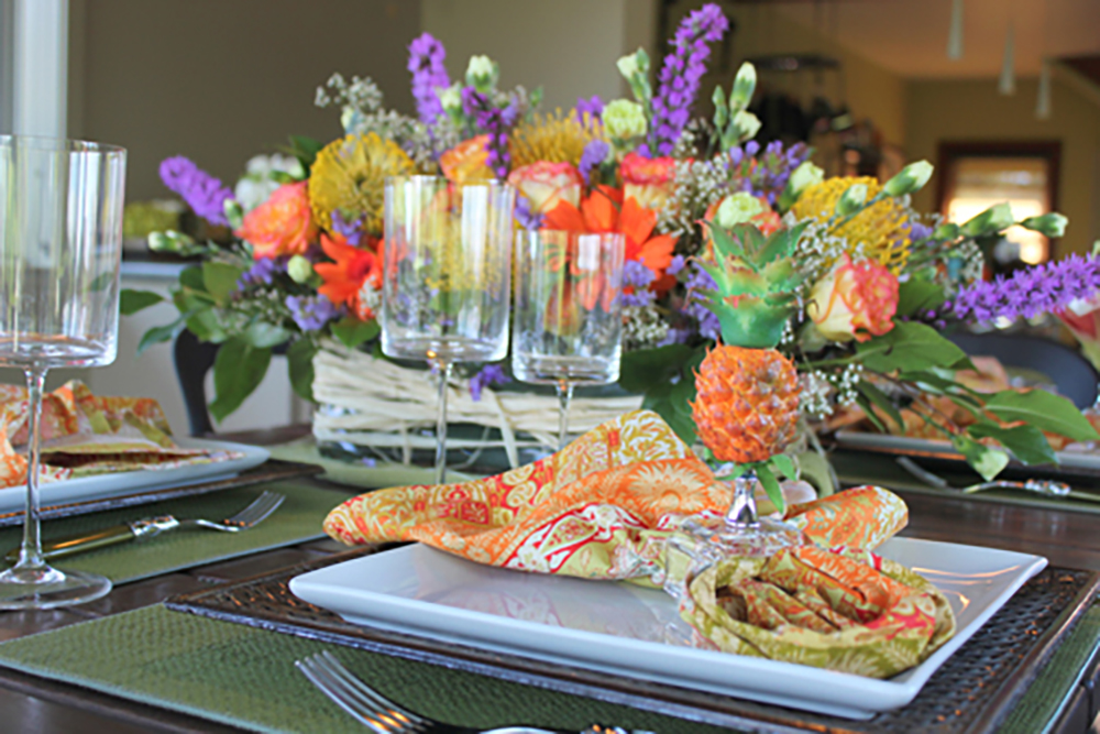 The flowers were carefully chosen to coordinate with the table top.