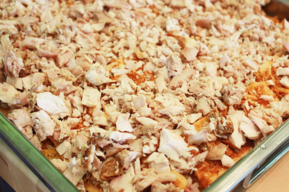 Tamale Pie Layering Chicken Shreds
