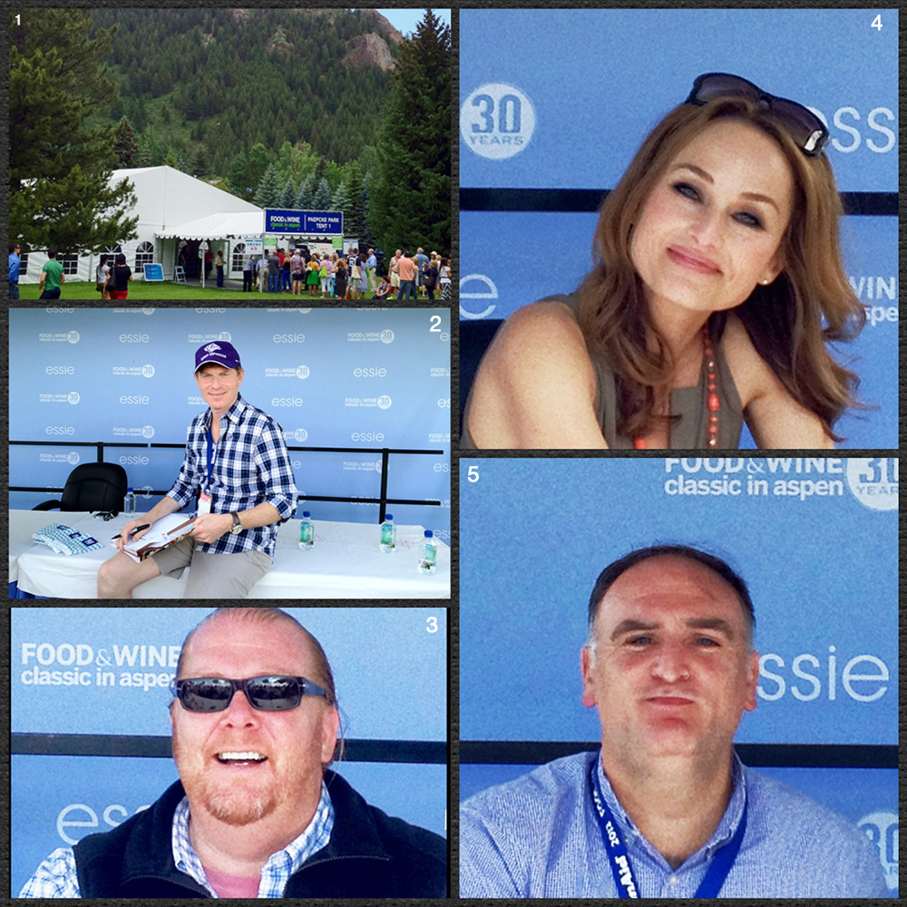 1. Food and Wine Tent 2. Chef Bobby Flay 3. Chef Mario Batali 4. Chef Giada De Laurentis 5. Chef Jose Andres