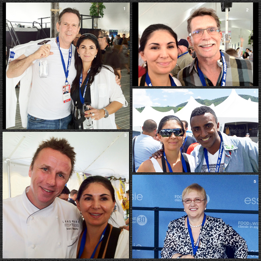 1. Chef Thomas Keller and Soffia 2. Soffia and Chef Rick Bayless 3. Chef Marc Murphy and Soffia 4. Chef Marcus Samuelson and Soffia 5. Chef Lidia Bastianich