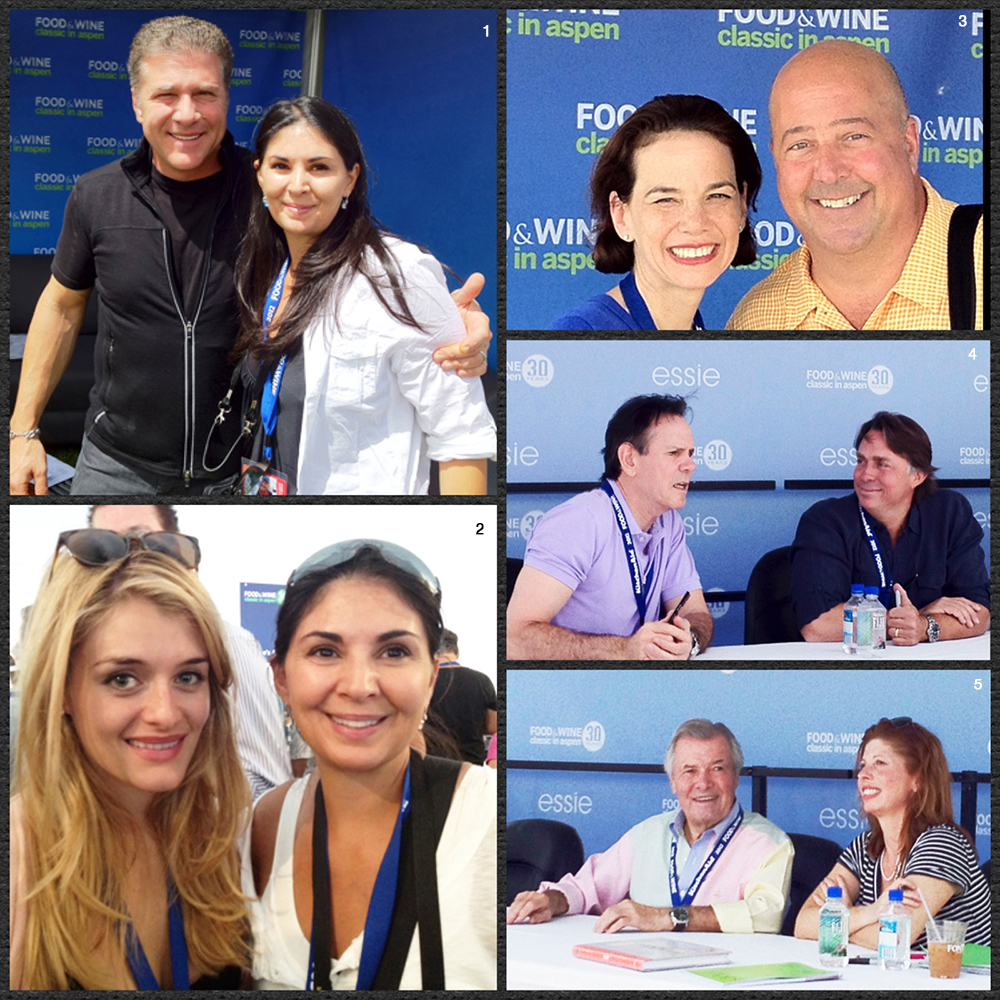 1. Chef Michael Chiarello and Soffia 2. Daphne Oz from The Chew and Soffia 3. Chef Zimmerman and F&W Editor-in-Chief Dana Cowin 4. Chef Thomas Keller and Chef John Besh 5. Chef Jacques and Claudine Pépin