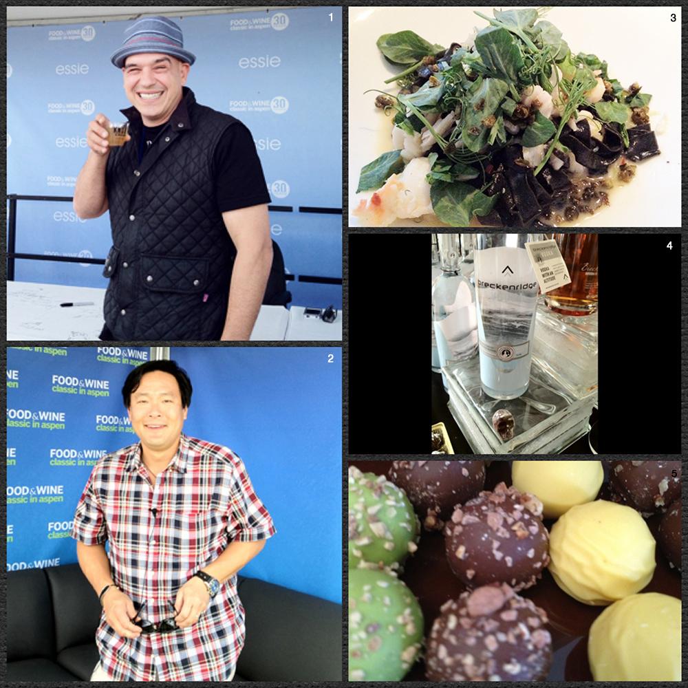 1. Chef Michael Symon 2. Chef Ming Tsai 3. Squid Ink Truffle Pasta from Cache Cache 4. Skull Truffles and Liquor 5. Godiva Truffles