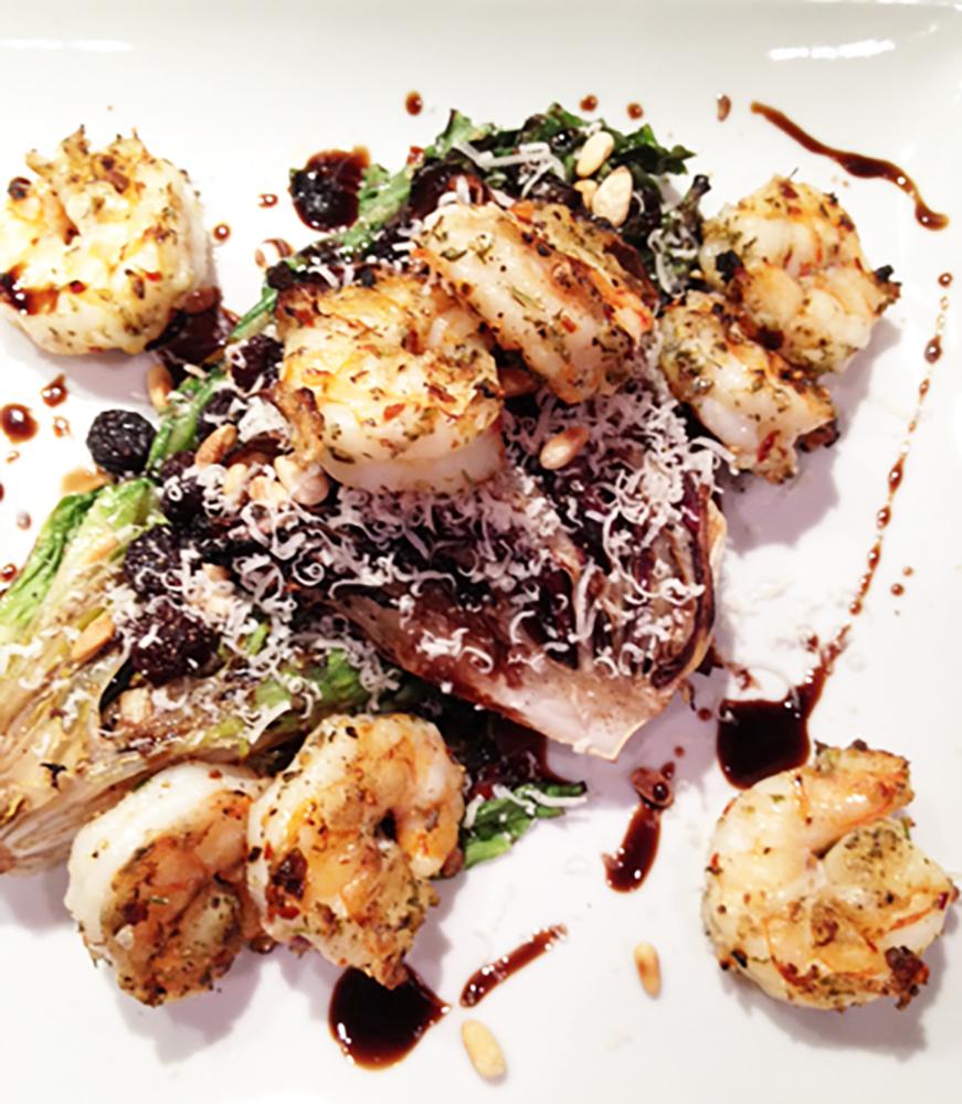 Grilled Bitter Greens w Shrimp