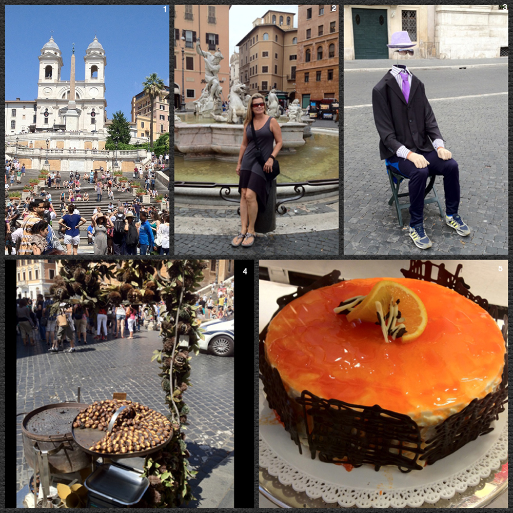 1. The famous Spanish Steps 2. Pepper enjoying a day out in Rome 3. Entertainment in the Piazza 4. Nothing like roasted chestnuts in Italy 5. The bakeries in Rome are amazing