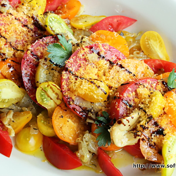 Heirloom Tomatoes with Carmelized Onions