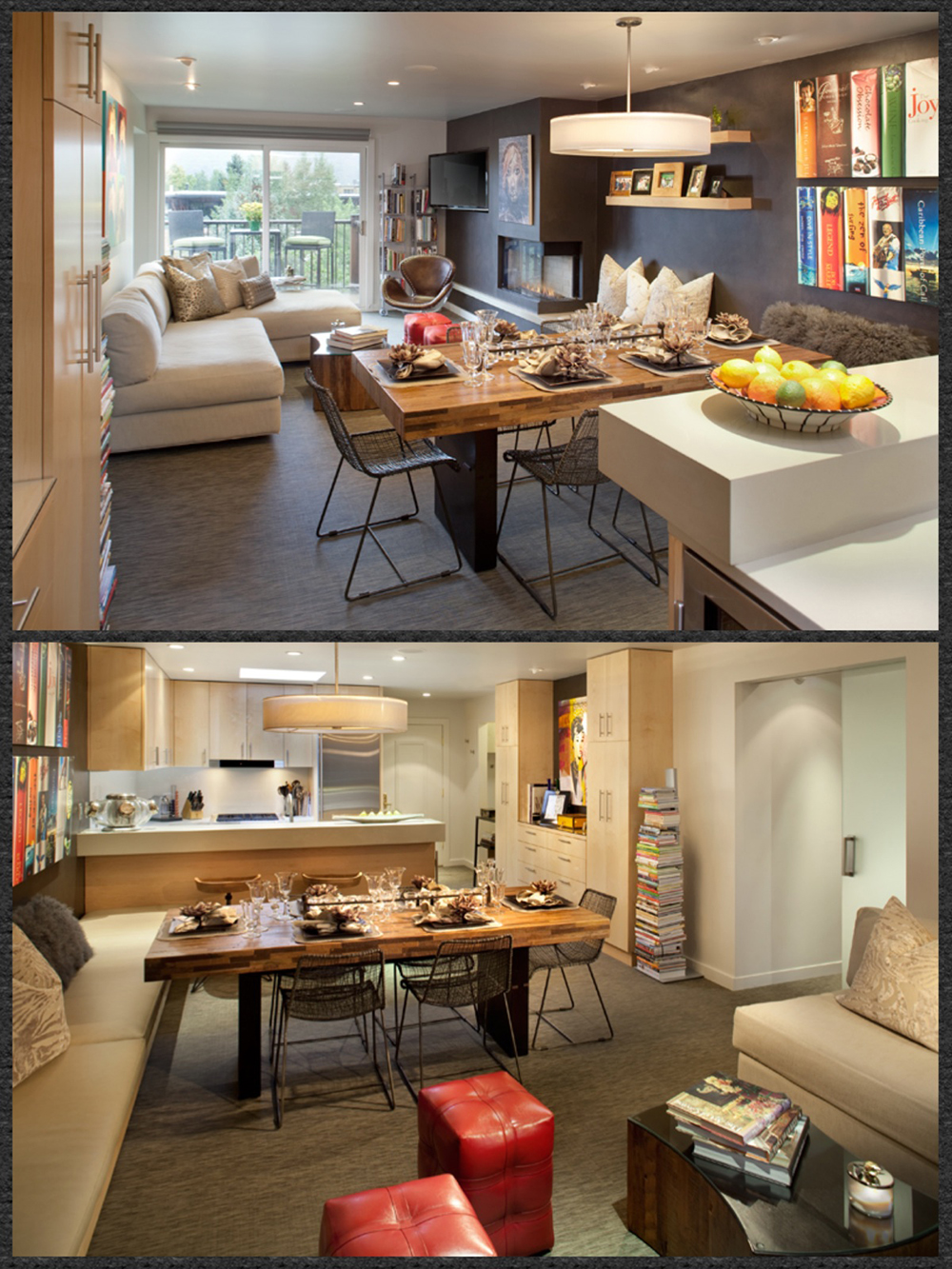 Top: Living Area and Kitchen Bar-BMP Bottom: Kitchen and Dining-BMP