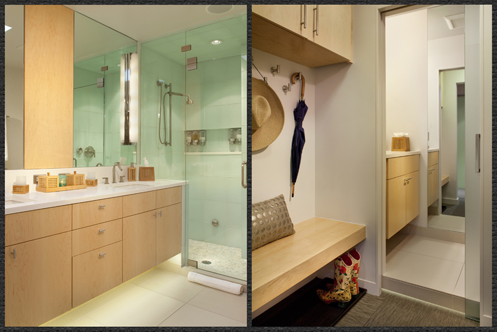 Left: Master Bath with Double Sink and Steam Shower-BMP Right: Entry/Coat-Powder Room-BMP