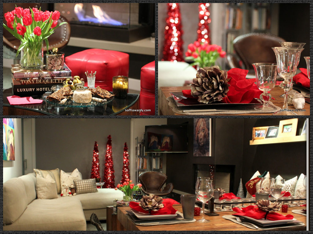 Top Left: Creating the Perfect Mood for Entertaining Top Right: Three Narrow Red-Lit Narrow Sparkle Trees Bottom: Red Accents For The Holidays