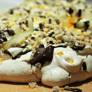 Meringue with Pears, Hazelnuts, Chocolate & Ginger