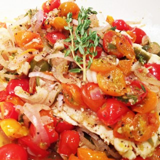 Halibut en Papillote with Tomatoes, Capers & Garlic