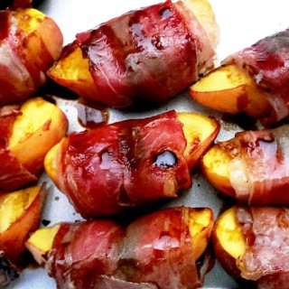 Prosciutto Wrapped Grilled Blue Cheese Peaches
