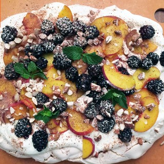 Peach and Blackberry Pavlova