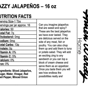 Spicy Jazzy Jalepenos nutritional information label