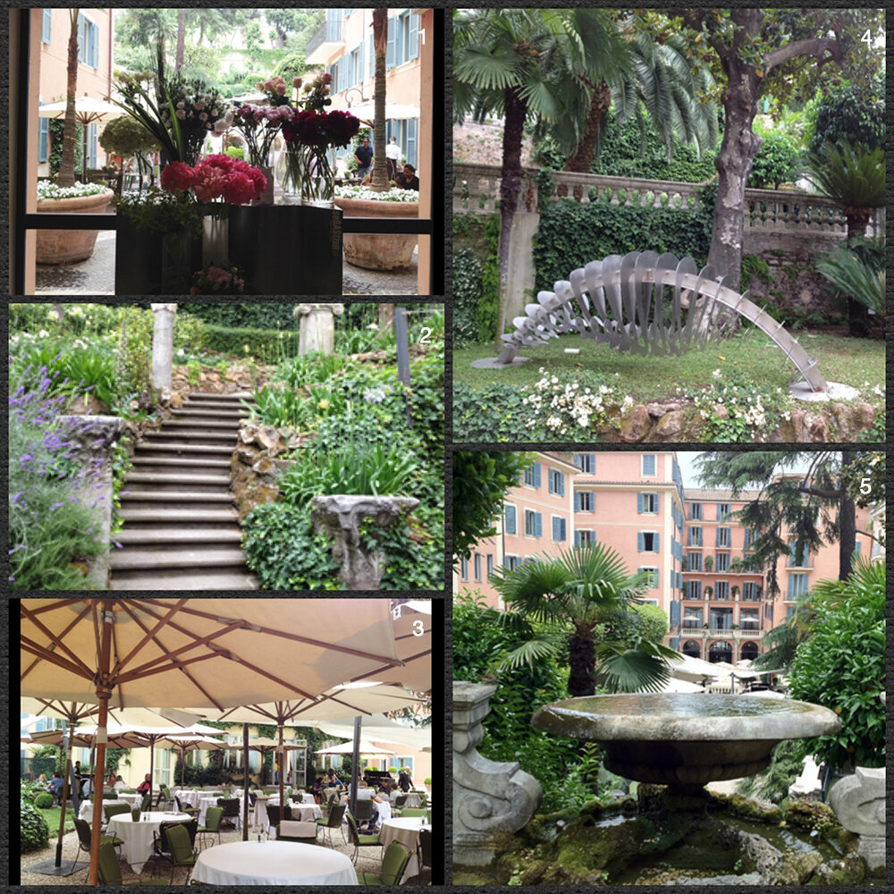 1. Flowers at the entrance of the Hotel de Russie 2. The gardens at the Hotel de Russie 3. Breakfast in the gardens of the de Russie 4. Garden art in the gardens of the de Russie 5. A fountain at the de Russie